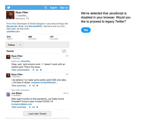 screenshots of mobile and desktop twitter pages